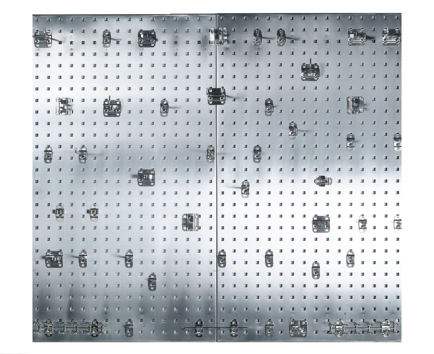 Triton Products Locking Pegboard Hooks LB2-SKit 304 Stainless Steel Square Hole Pegboards with 45 Piece Stainless LocHook Assortment with Mounting Hardware, 24'' x 42.5'' x 9/16'', Silver by Locking Pegboard Hooks (Image #1)