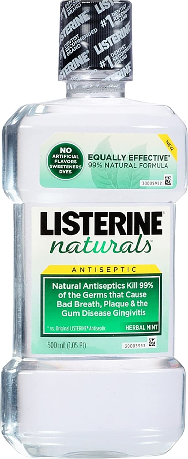 Listerine Naturals Antiseptic Mouthwash, Herbal Mint 16.90 oz (Pack of 6)