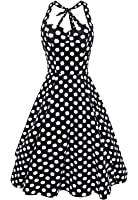 Anni Coco® Women's Sexy Halter Neck Polka Dot Dress 1950s Vintage Dress Rockabilly Cocktail Swing Dresses