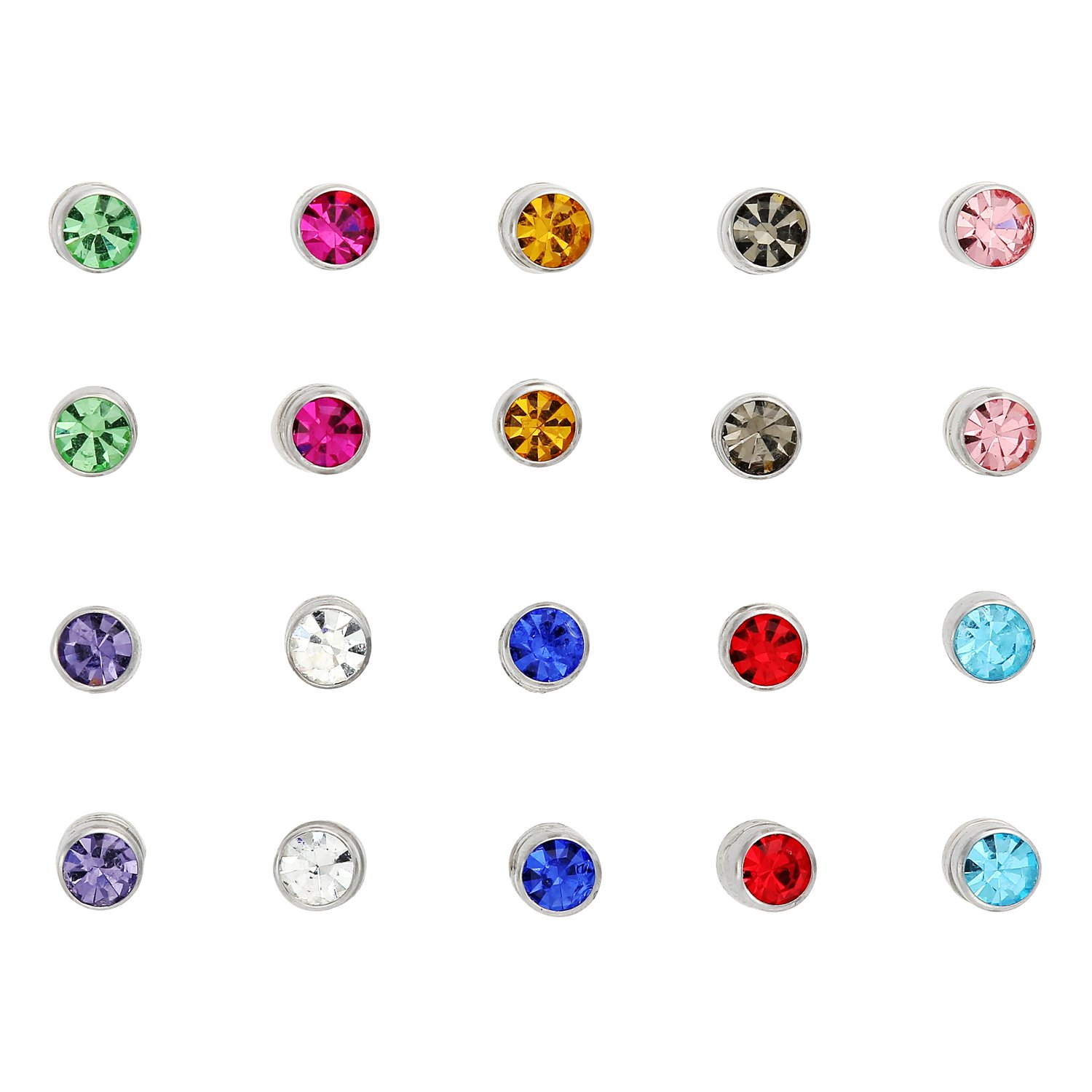 Amazon: Stainless Steel Magnetic Clip On 5mm Stud Earrings Unisex  Colored Crystal 10 Pair Set, By Regetta Jewelry: Jewelry