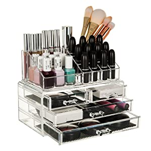 GLAMSMACKED ¨ Clear Acrylic Cosmetic Organiser Display Table Storage Stand for Make Up, 4 Drawer Nail Polish, Varnish, Arts and Crafts, Brush Sets, and Jewellery