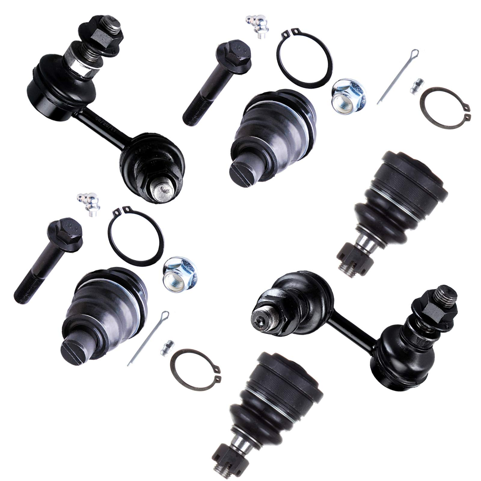 SCITOO 6pcs Suspension Kit 2 Upper 2 Lower Ball Joint 2 Front Sway Bar End Link fit 2005-2013 Nissan Frontier 2WD 2005-2012 Nissan Pathfinder 2WD 2005-2013 Nissan Xterra 2WD K80647
