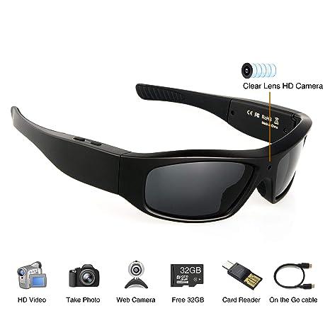 fe55c56af5 Amazon.com   Wearable Camera Glasses 32GB Video Sunglasses HD 720P ...