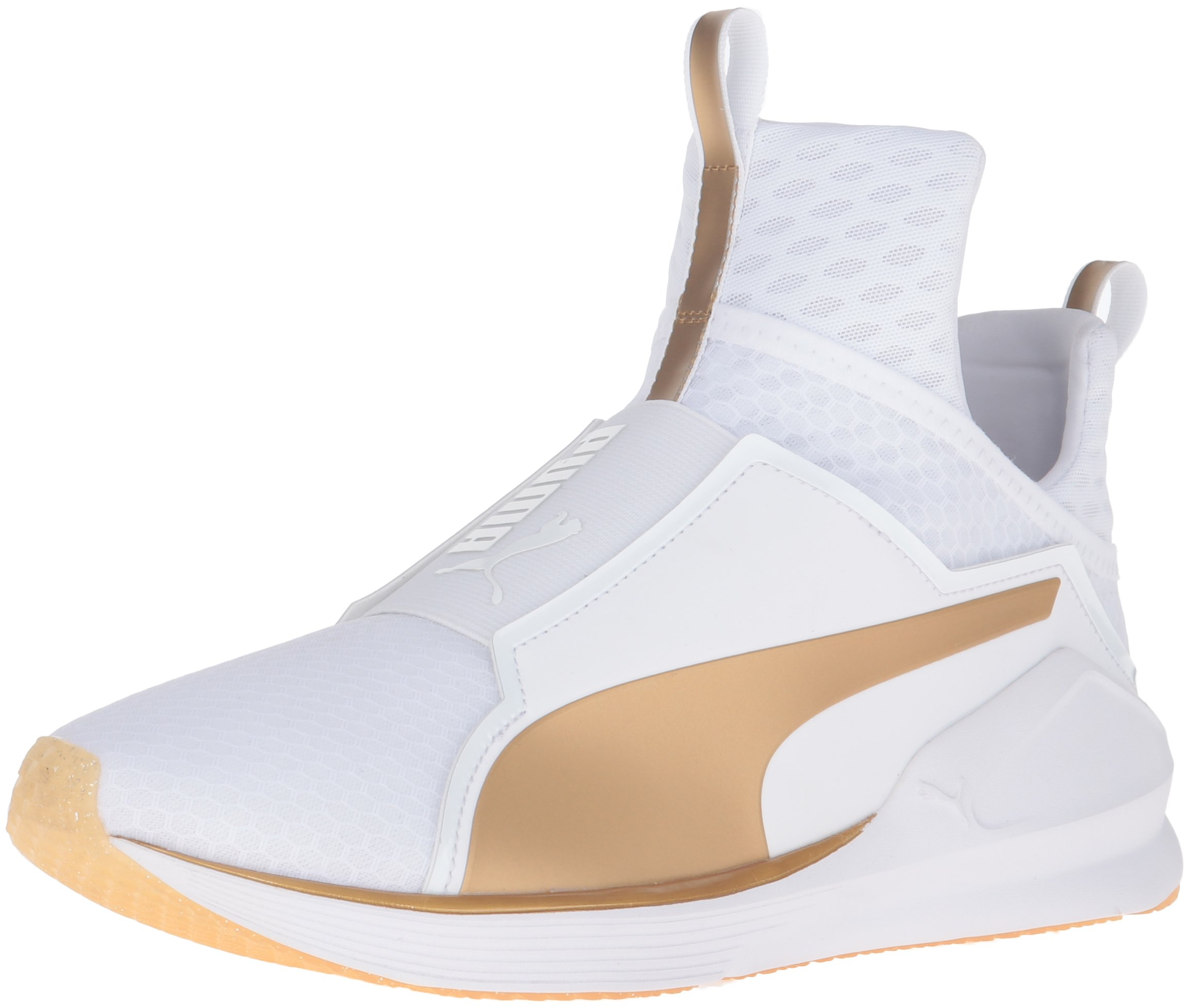 PUMA Women's Fierce Gold Cross-Trainer Shoe, White/Gold, 7 M US