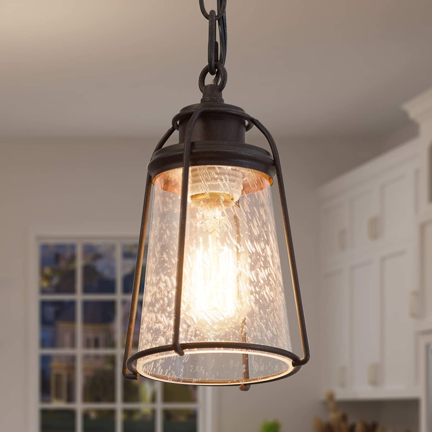 KSANA Farmhouse Pendant Lighting, Mini Rustic Hanging Light Fixture with Seeded Glass Shade for Kitchen Island, Foyer, Hallway, Bedroom and Entryway, Bronze