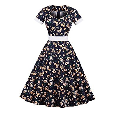 Amazon.com: KeKeD23921 Cotton Summer Dress For Women Vintage Dress Daisy Floral Print Elegant Pattern Belts Feminino Vestidos Swing Dress: Clothing