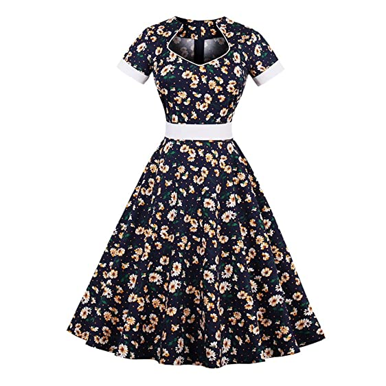 Cotton Summer Dress for Women Vintage Dress Daisy Floral Print Elegant Pattern Belts Feminino Vestidos Swing