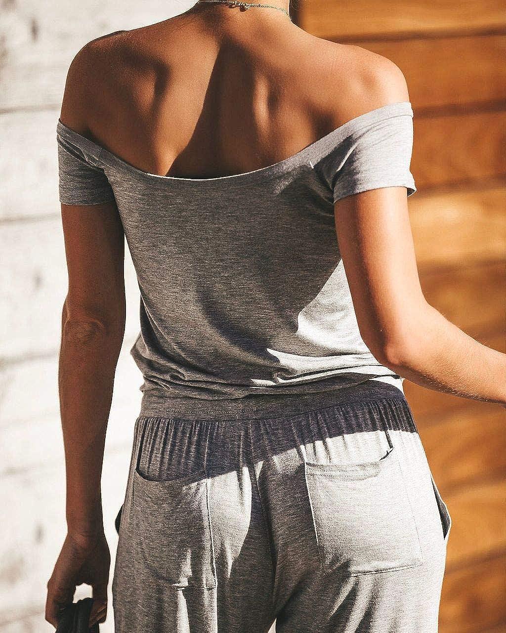 LISTHA Loose Jumpsuit Women Off Shoulder Short Sleeve Playsuit Romper Trousers