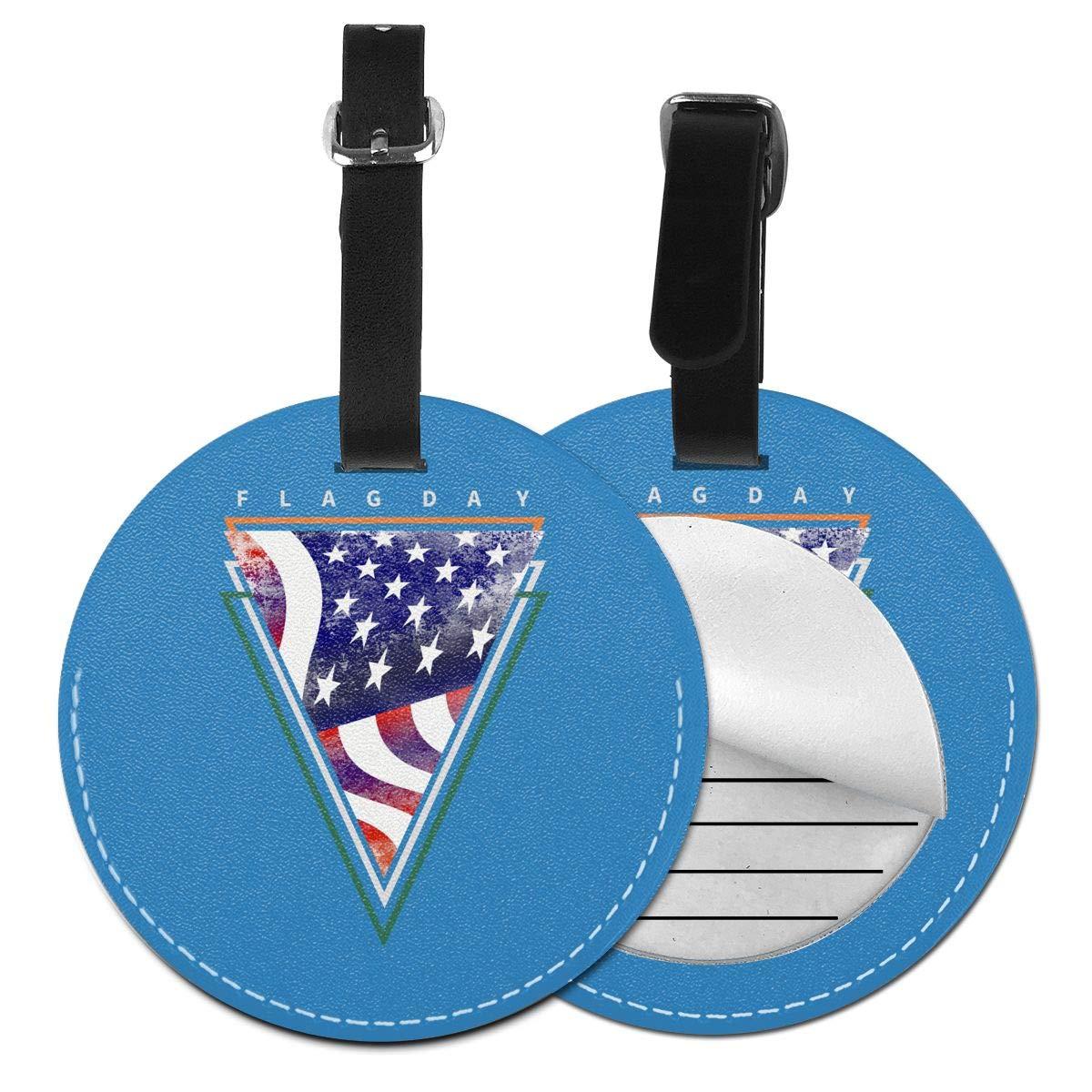 1pcs,2pcs,4pcs Celebrate Irish Heart American Flag Day Pu Leather Double Sides Print Round Luggage Tag Mutilple Packs