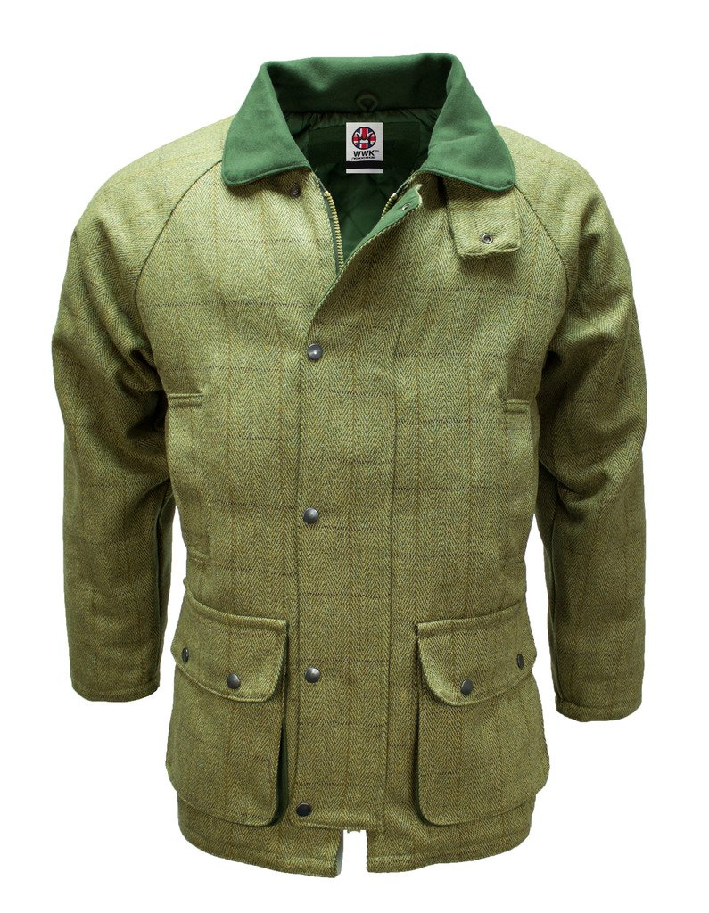 Mens Green Tweed Waterproof Breathable Country wear Jacket Coat by WWK/WorkWear King