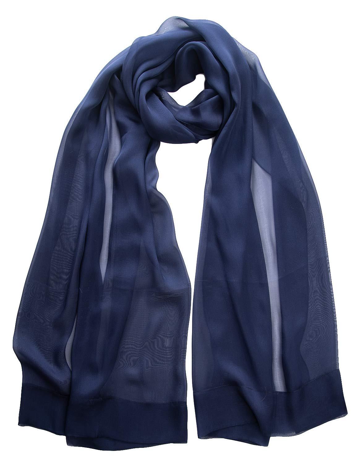 Elizabetta Evening Shawl Wrap, Pure Silk Chiffon, Made in Italy Blue