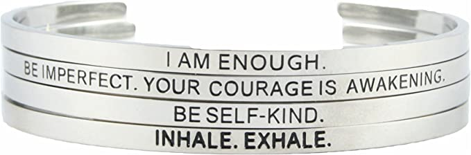 Believe in Yourself Encouragement Gift Mental Health Gift Self Care Gift Support Jewelry Mantra Bracelet Cuff Bangle Bracelet