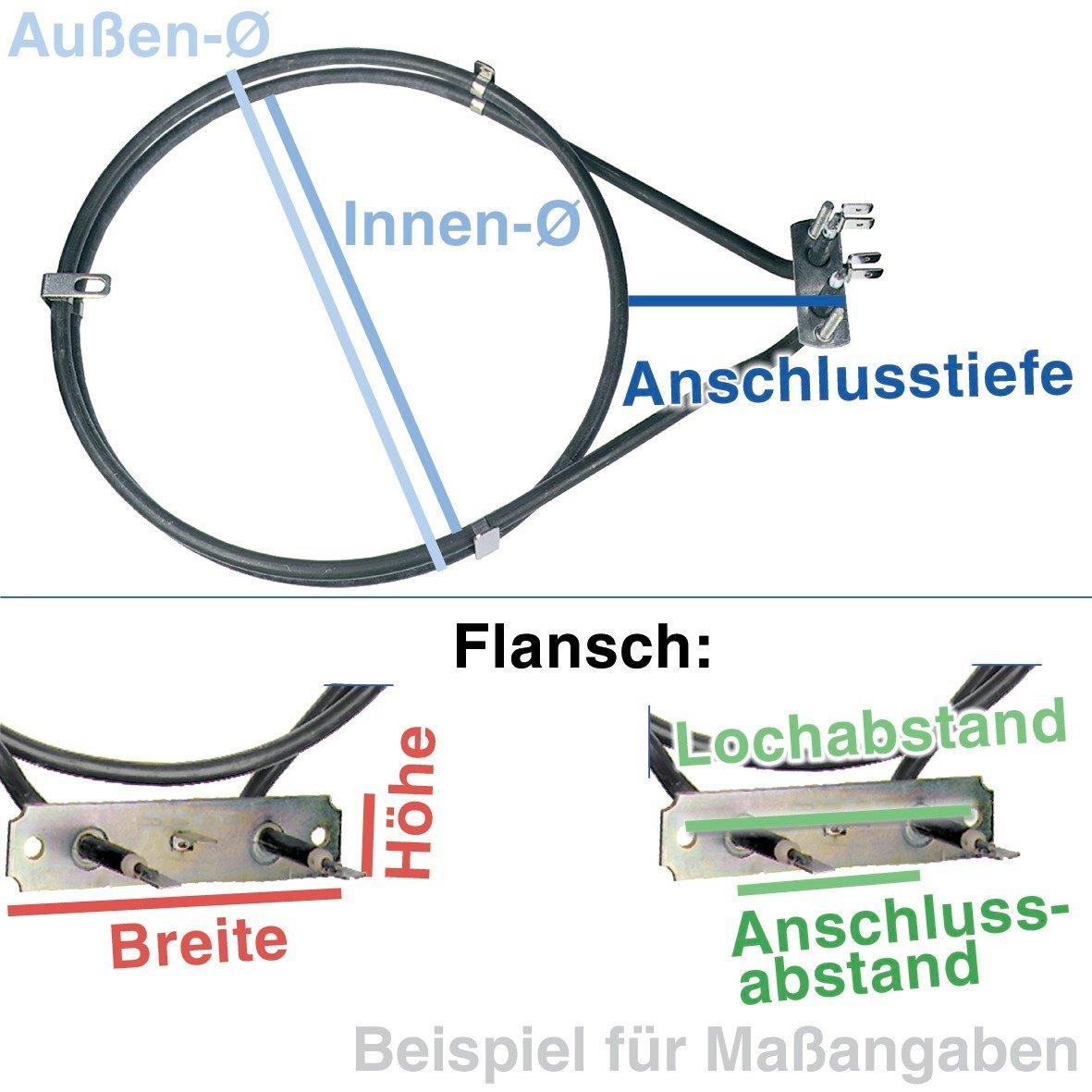 Heizelement Hei/ßluft 2500W f/ür Backofen von Miele AEG 230V