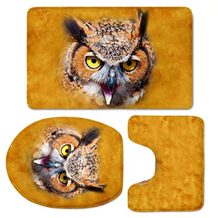 Cute Washable Absorbent Modern Bath Mat,Beach,Fashion Owl Bathroom Carpet  Rug,Non