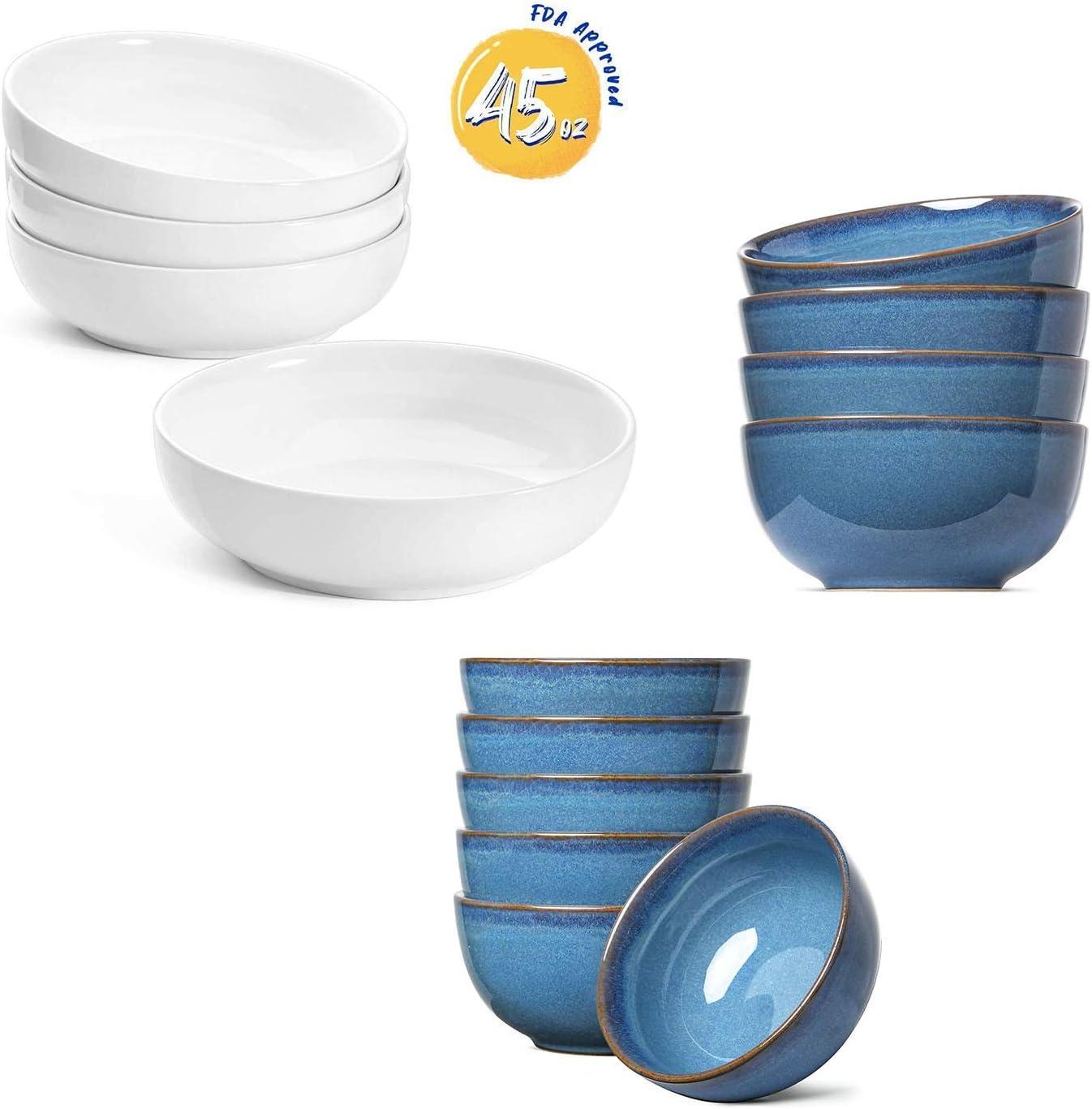 Amazon Com Le Tauci 45 Oz Pasta Bowls Set Of 4 20 Oz Soup Cereal Bowls Set Of 4 10 Oz Dessert Bowls Set Of 6 Kitchen Dining
