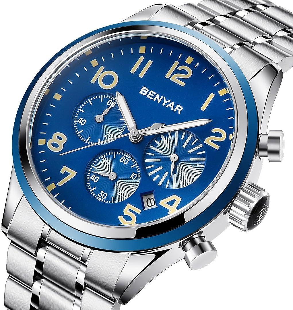 BENYAR Reloj Hombre Deporte Negocios Moda Hombre Reloj de Dial Grande Acero Inoxidable Correa Cronógrafo