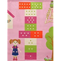 Little Helper IVI Large Tapis Epais Hypoallergique 3D Haute Qualité Thème Marelle Rose/Multicolore 100 x 150 cm