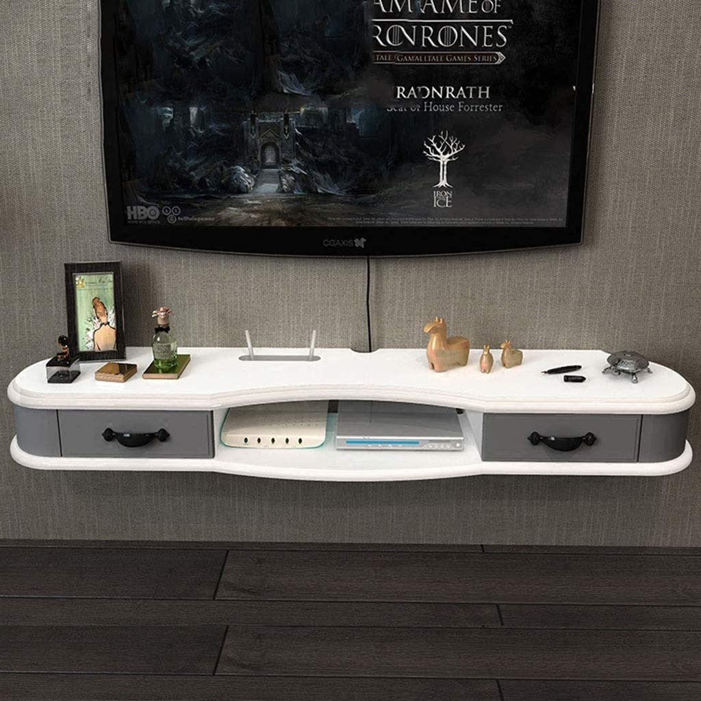 Color : White+Gray, Size : L120/×D24.4/×H14cm Wall-Mounted Storage Shelf Floating TV Shelf Rack TV Cabinet Media Entertainment Console Gaming Shelving Unit with Drawers and Storage Shelves