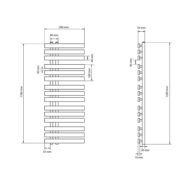 ECD Germany Iron EM Design Badheizk/örper Elektrisch 1200W 500 x 1200 mm Wei/ß Heizk/örper Handtuchw/ärmer Handtuchtrockner Designheizk/örper