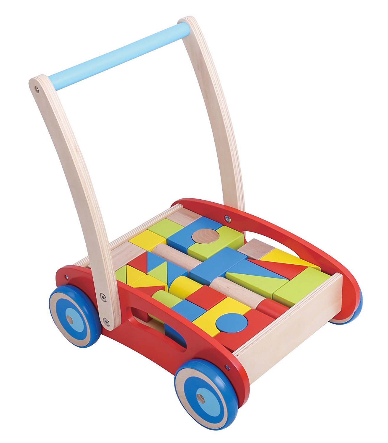 Amazon Pidoko Kids Block and Roll Cart Wooden Push and Pull