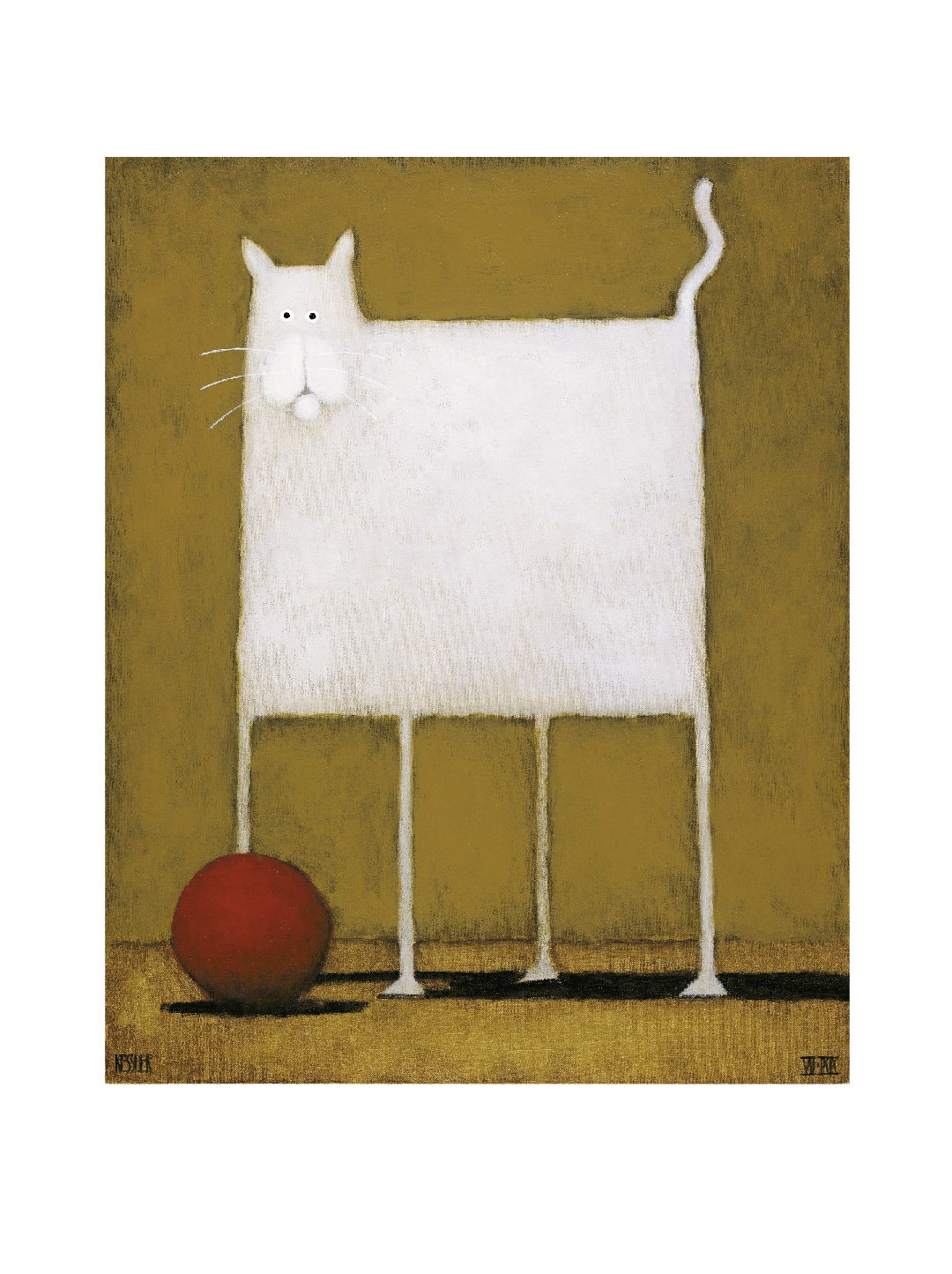 White Cat with Ball Art Print Wall Poster 24x30cm