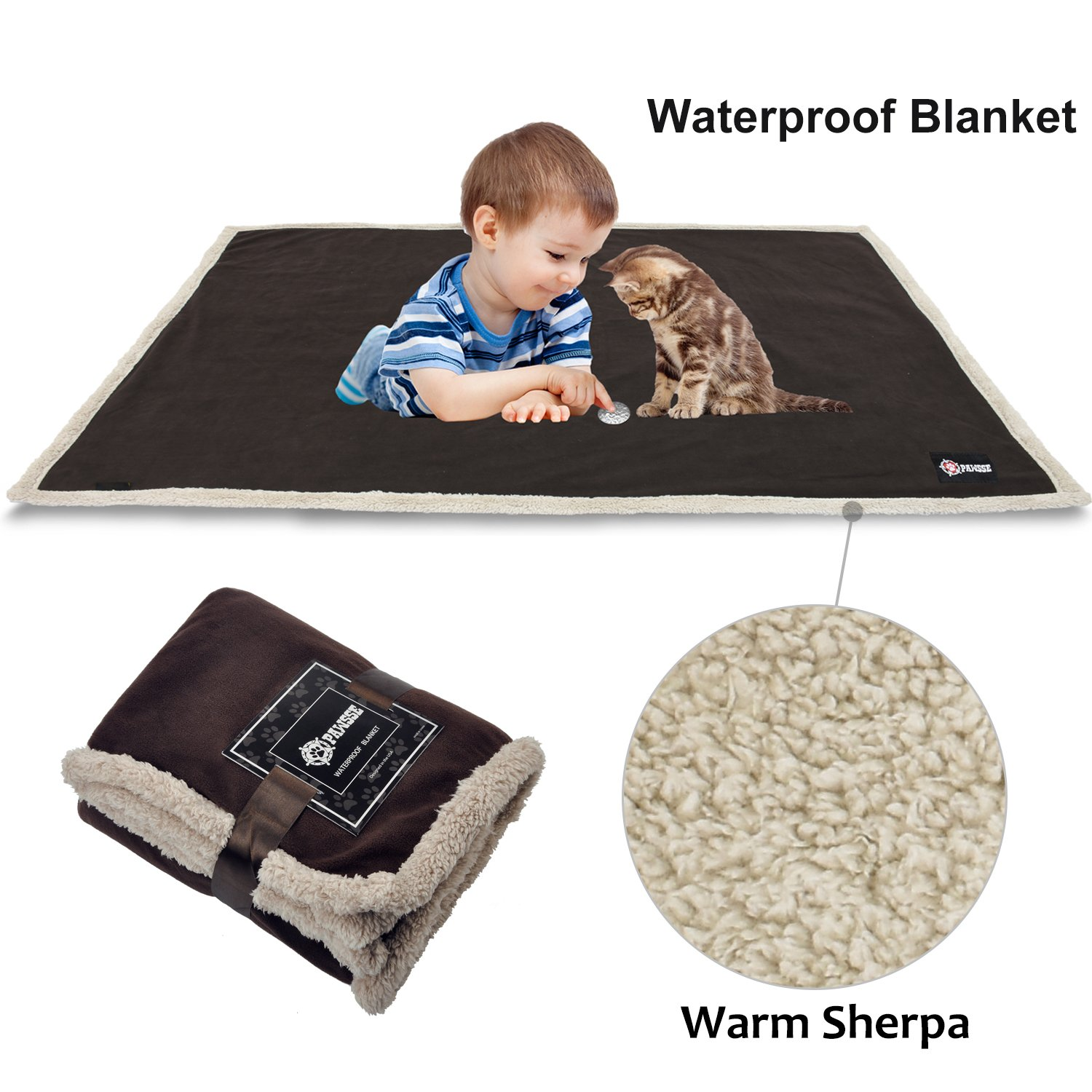 Waterproof Dog Blanket,Premium Pet Puppy Cat Soft Fleece Sherpa Throws Blanket Cushion Mat for Car Seat Furniture Protector Cover Small 50'' x 30'' by Pawsse Brown by Pawsse (Image #1)