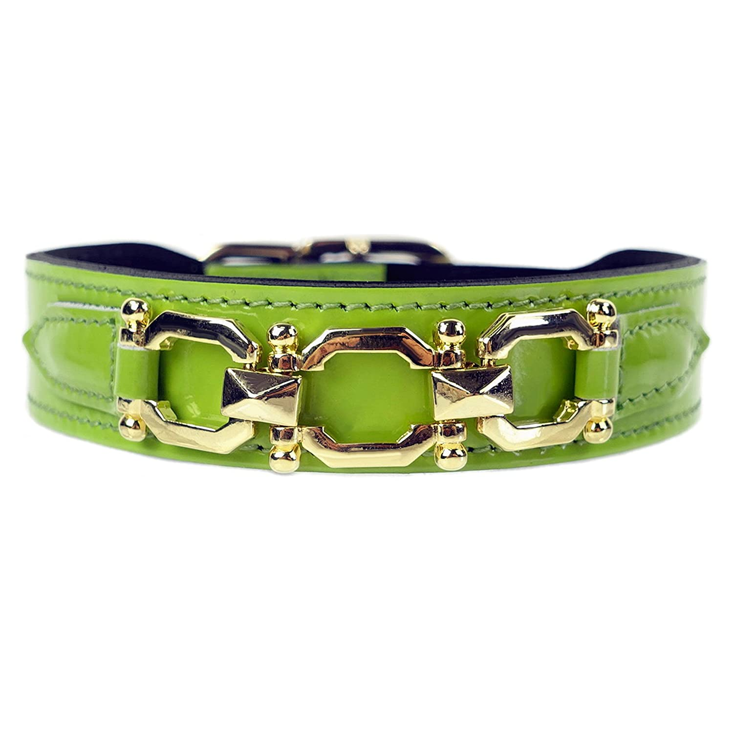 Lime Patent 18 20-Inch Lime Patent 18 20-Inch Hartman & pink Georgia pink Collection Dog Collar, Lime Patent, 18-20-Inch