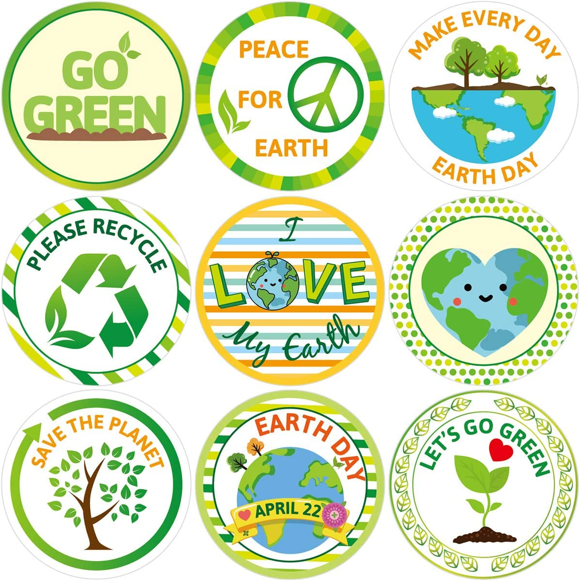 Save The Earth Stickers for Kids 200Pcs Perforated Roll Sticker Classroom Earth Day