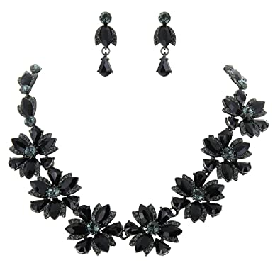 5c8817634 SP Sophia Collection Women's Floral Statement 7 Flowers Chain and Drop Earrings  Jewelry Set in Black