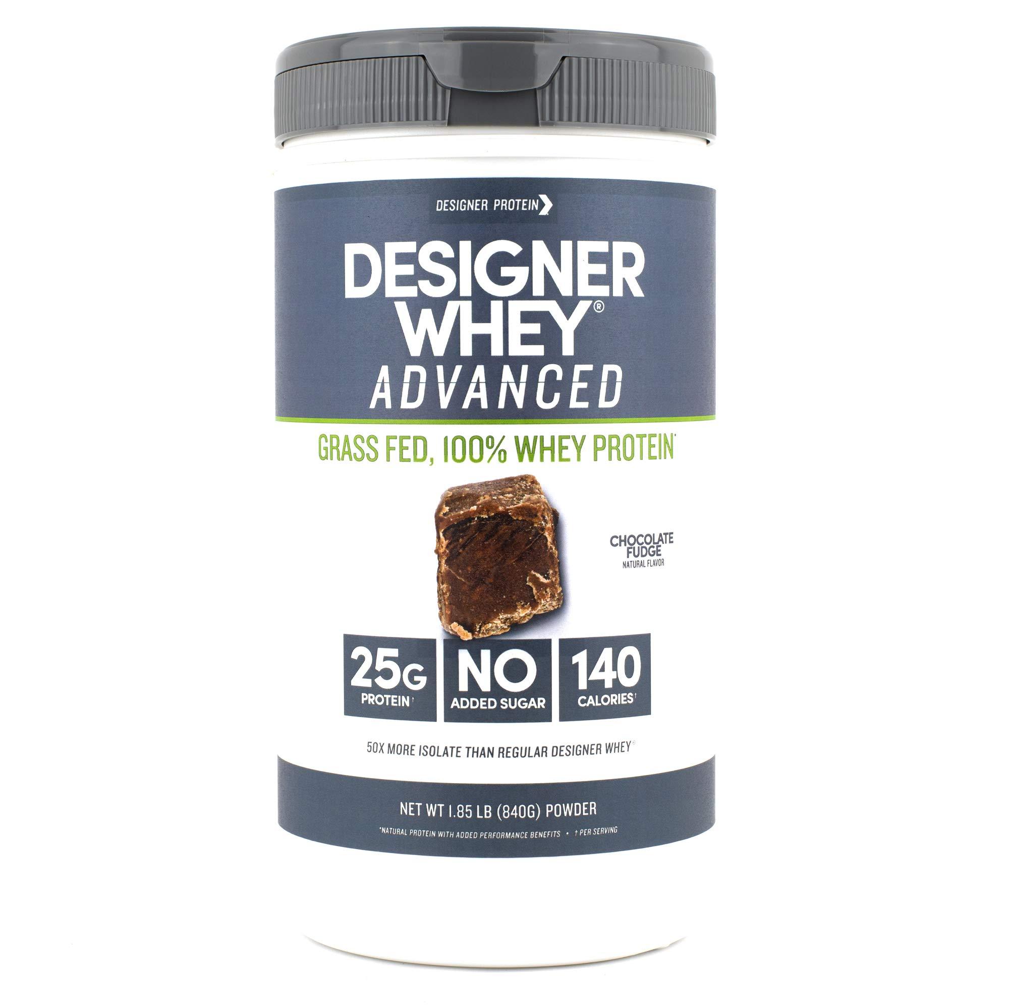 Designer Whey Grass Fed Protein Powder, Chocolate Fudge, 1.85 Pound, Non GMO by Designer Protein