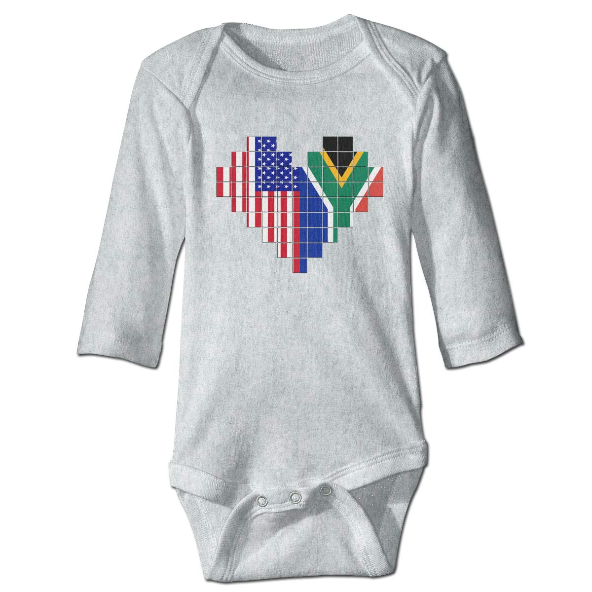 A14UBP Infant Baby Boys Girls Long Sleeve Climb Romper American Flag South African Flag Puzzle Heart Playsuit Outfit Clothes
