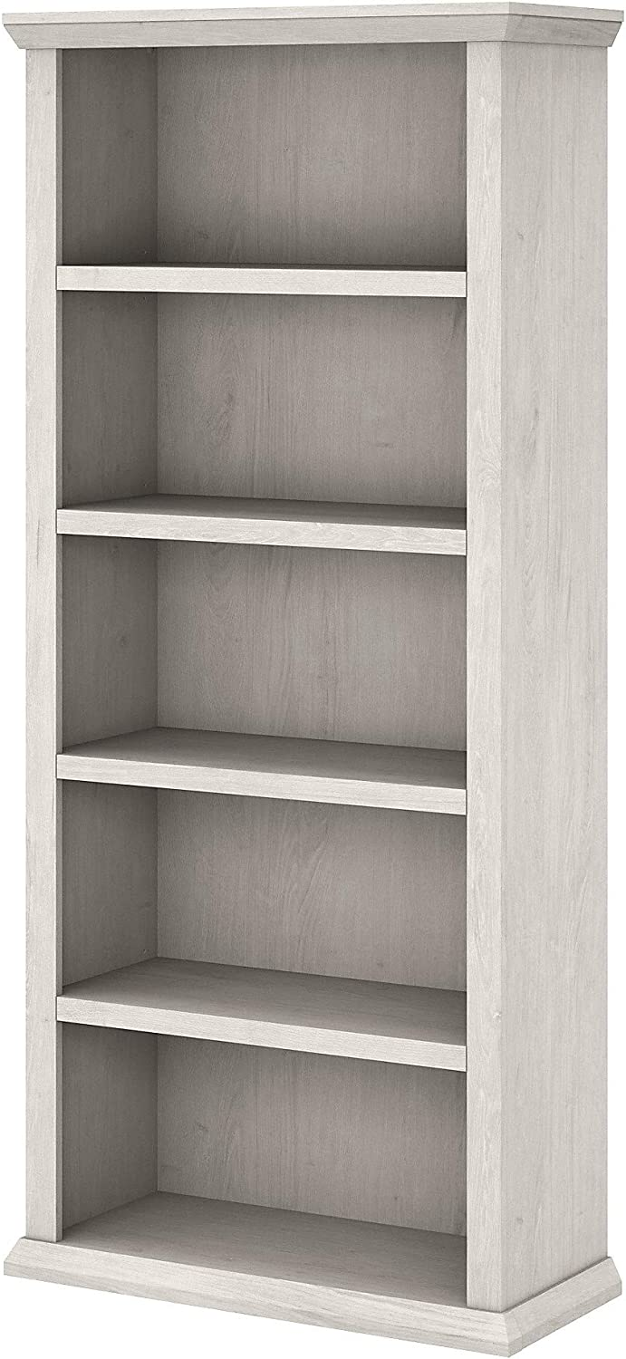 Bush Furniture Yorktown Tall 5 Shelf Bookcase, White Oak