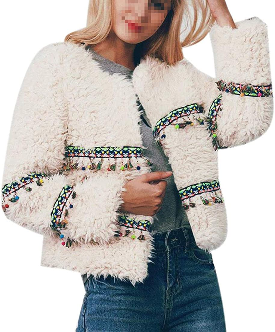 XTX Womens Outdoor Faux Fur Thicken Tassels Open Front Short Jacket Coat Apricot 2XL
