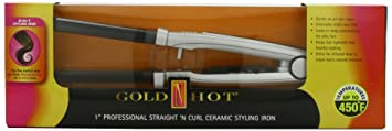 Gold 'N Hot Professional Ceramic Straight 'N Curl Styling Iron, 1 Inch