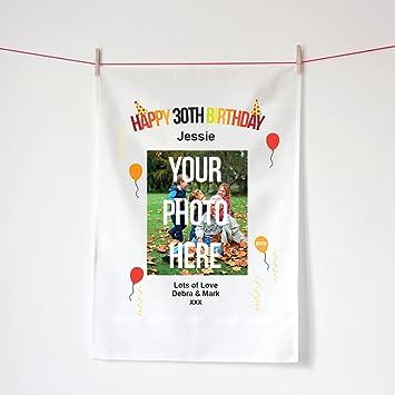 Fotos de 30º cumpleaños regalo, personalizable Happy 30th cumpleaños fotografía toalla de té, toalla de impresión de fotos de Kepster: Amazon.es: Hogar