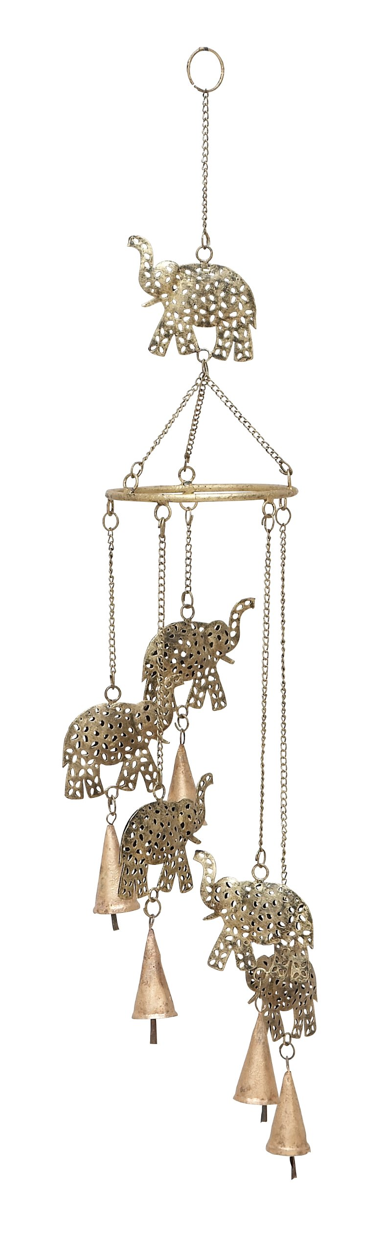 Benzara Deco 79 26717 Metal Elephant Wind Chimes 28'' H, 5'' W
