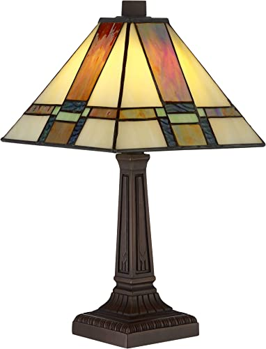 Morris Mission Antique Tiffany Style Mini Accent Table Lamp LED 14 1/4″ High Warm Brown Art Deco Stained Glass Shade Decor