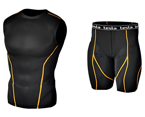 192e3d7e9733e5 Amazon.com: Tesla Mens Compression Base Layer Shirt & Short 1 Set ...