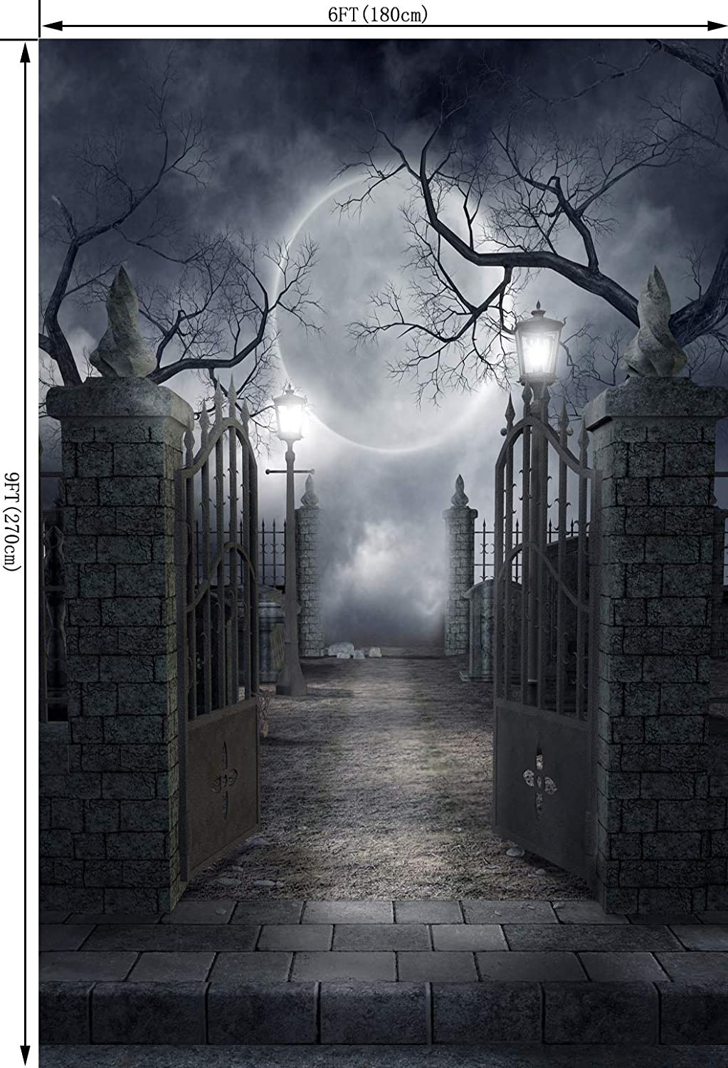 Amazon com ouyida halloween horror night 6x9ft cp pictorial cloth photography background computer printed vinyl backdrop tp17 camera photo