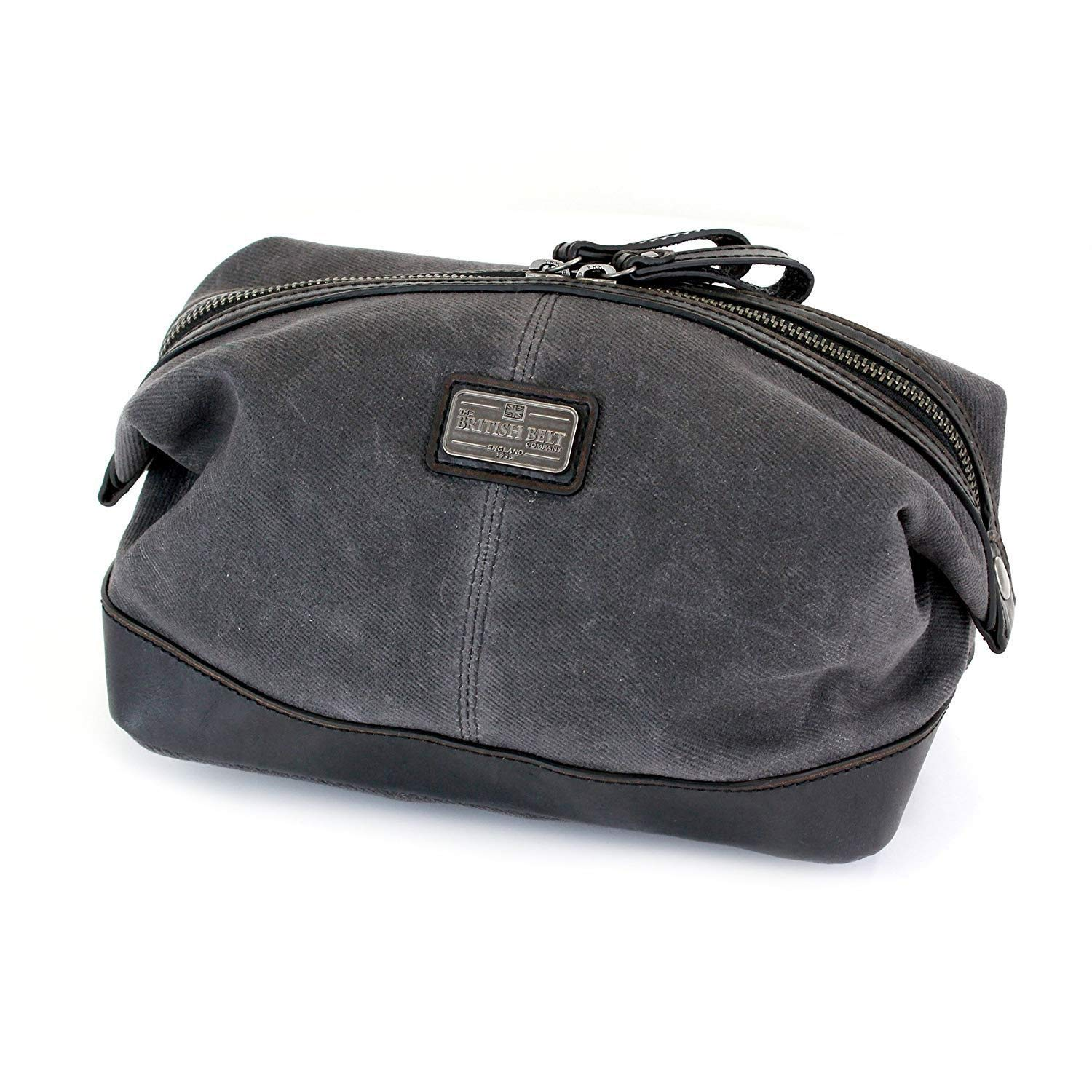 Halley Stevensons Waxed Canvas Toiletry Bag Dopp Kit, Leather Trim, Cotton Check Lining, Internal Zip Pocket, The British Belt Co. Langdale Collection