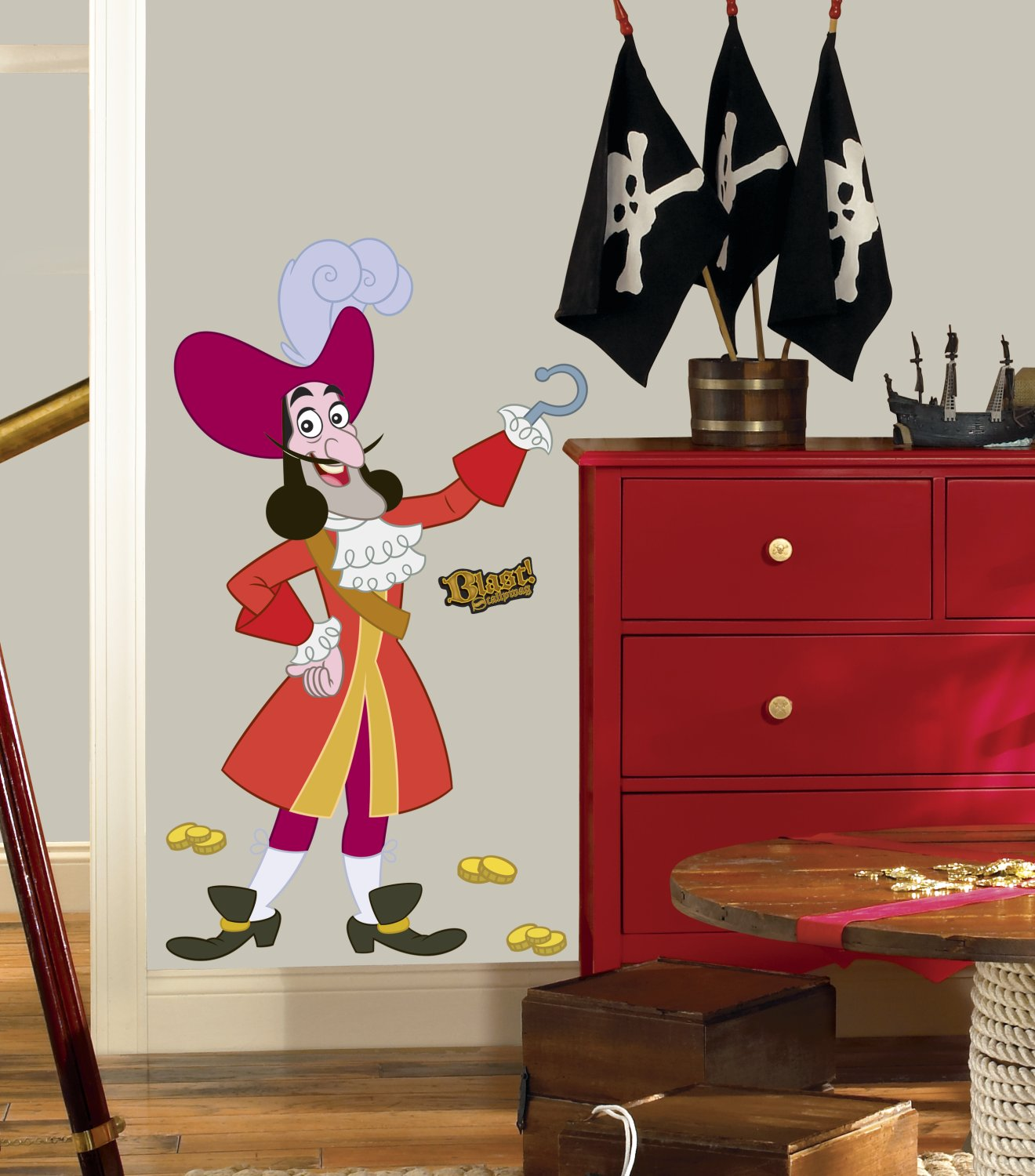 Amazon.com: Roommates Rmk1958Gm Disney Jake And The Neverland Pirates  Captain Hook Peel And Stick Giant Wall Decal: Home Improvement