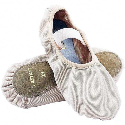 S.lemon Lona Elástica con Suela Completa Zapatillas de Ballet Baile para Niñas Niños (