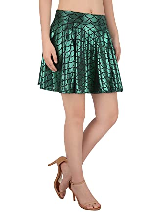 2df730ee7 HDE Womens Shiny Mermaid Fish Scale Mini Flared Pleated Skater Skirt  (Green, Small)