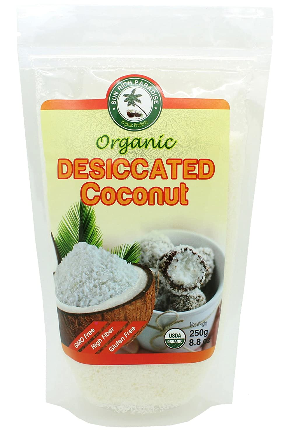Organic Premium Desiccated Coconut by Sun rich, Fine Shredded, Unsweetened, Gluten Free, All Natural, Non-GMO 8.8 oz - BONUS ebook included