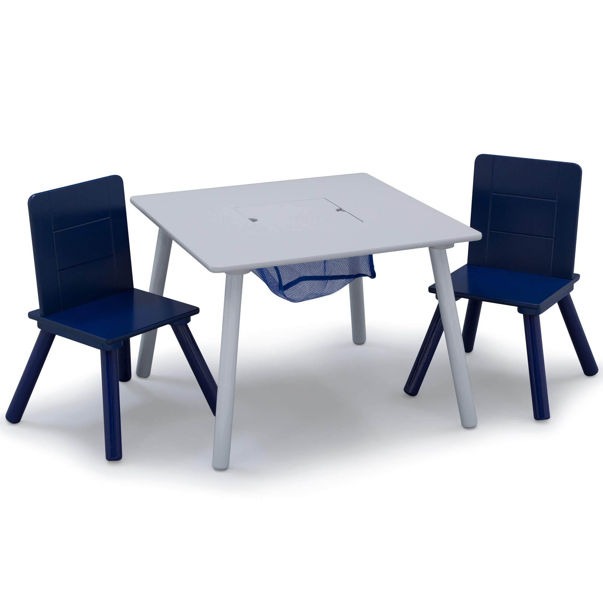 Delta Children Kids Table & Chair Set with Storage (2 Chairs Included), Grey/Blue by Delta Children