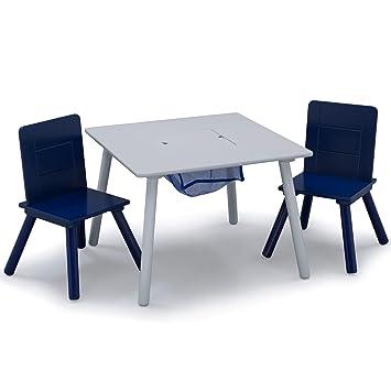 Stupendous Delta Children Kids Table Chair Set With Storage 2 Chairs Included Grey Blue Frankydiablos Diy Chair Ideas Frankydiabloscom