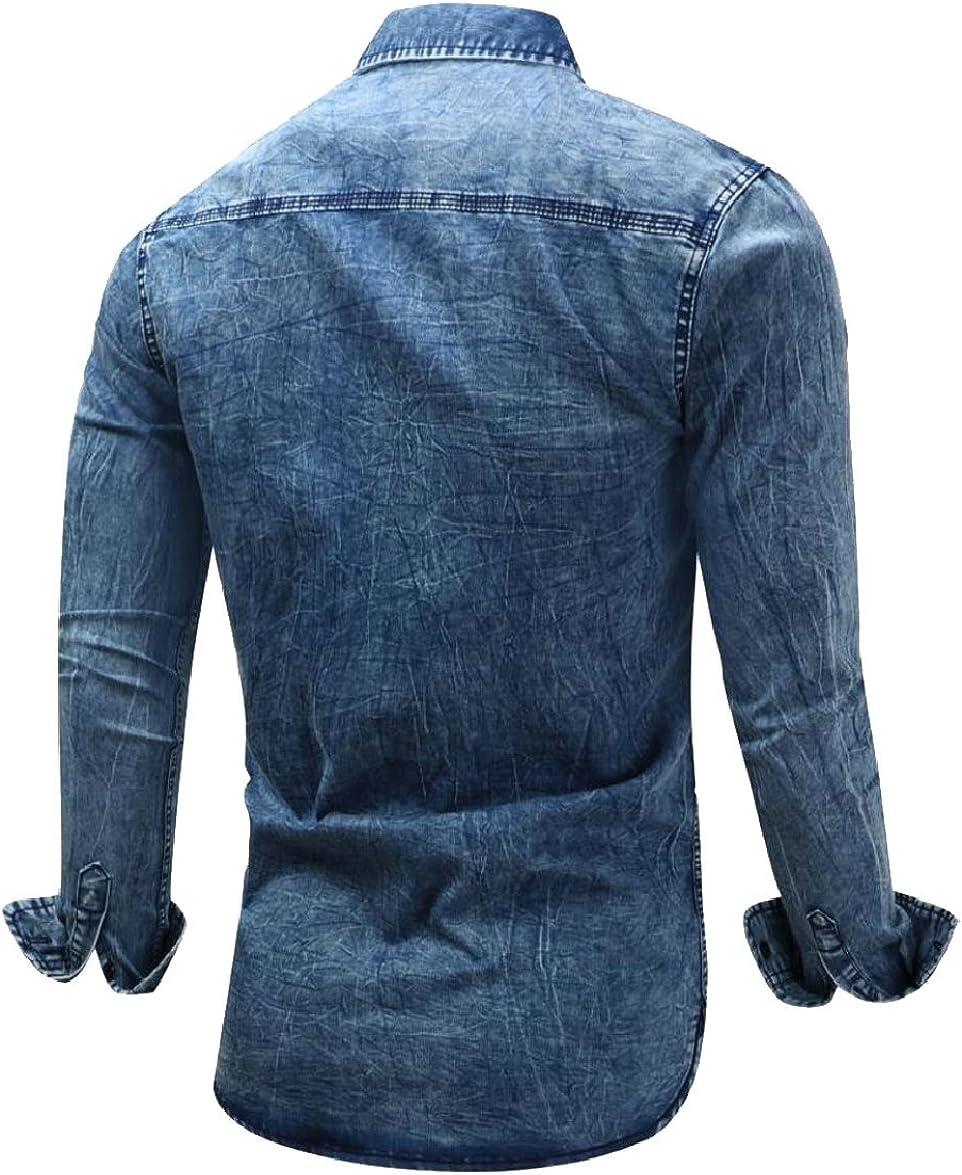 FLCH+YIGE Mens Long Sleeve Denim Shirt Classic Work Slim Fit Shirt