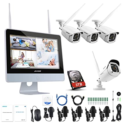 ANNKE Kit de Cámaras Seguridad WiFi Vigilancia Inalámbrica Sistema 1080P 4CH HD NVR con 12inch LCD