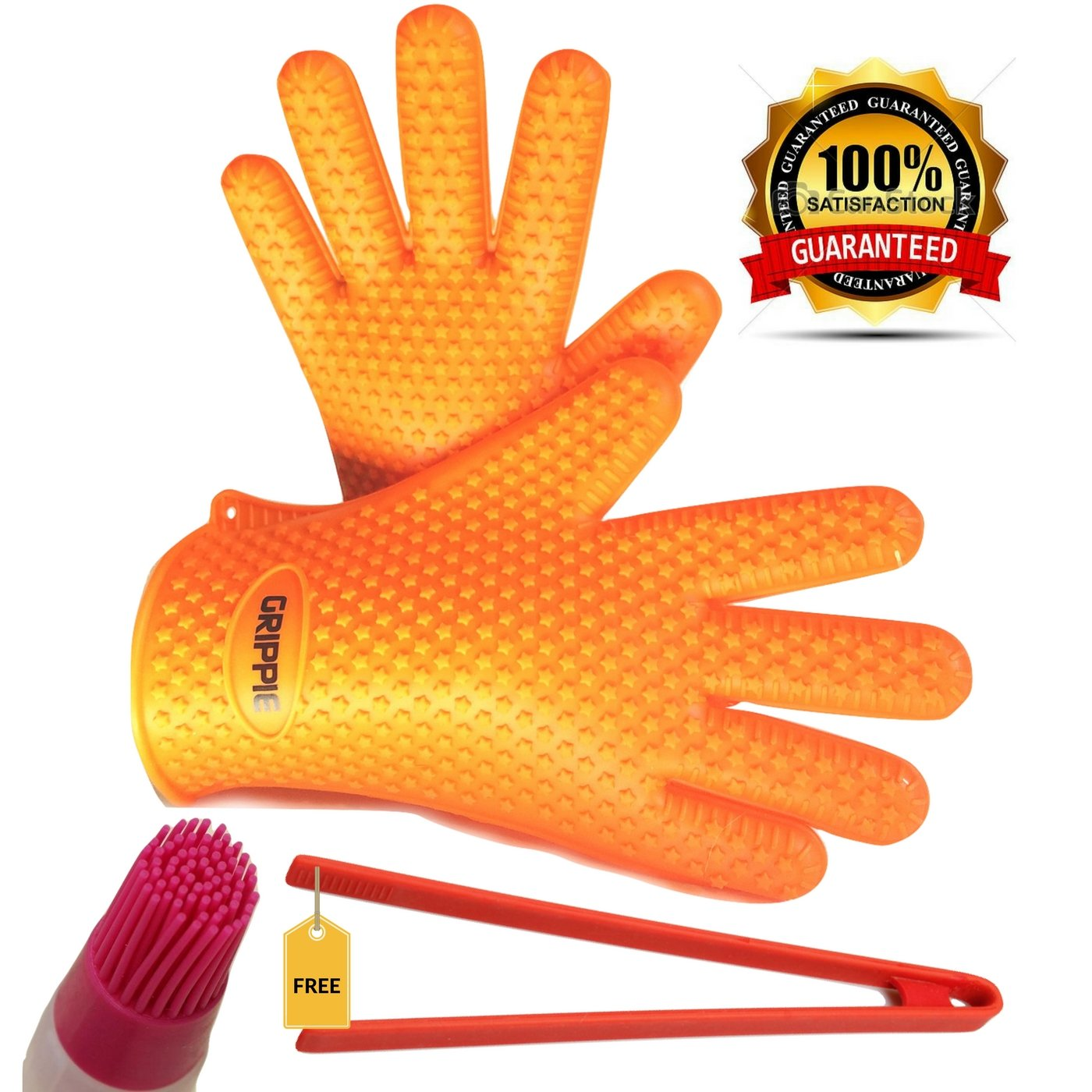BBQ, Grilling & Oven Silicone Heat Resistant Cooking Gloves With FREE TONGS and BASTING BRUSH By Grippie–Premium Quality-Maximum Protection & Comfort–Lightweight & Dishwasher Safe–Blue&Orange