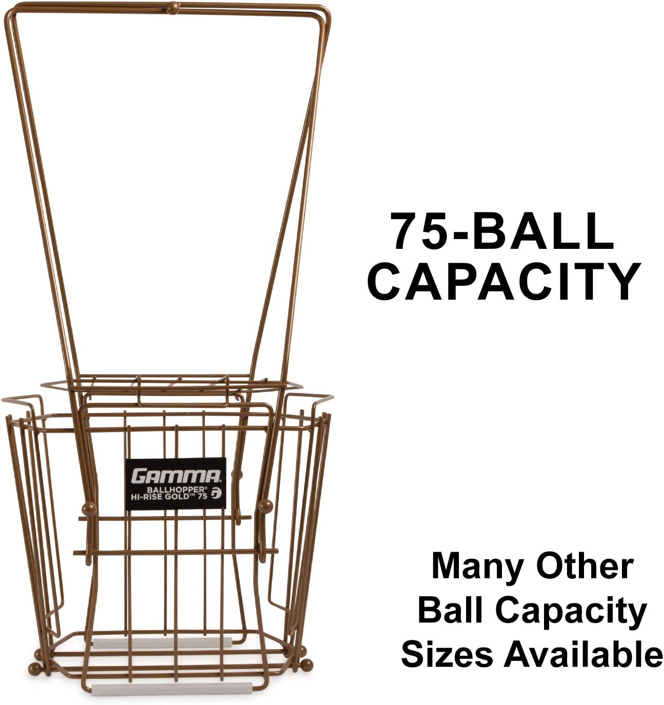 Gamma Sports Ballhopper Premium Pro 75 HiRise Gold Tennis Ball Pickup – Professional & Heavy Duty Floating Wire Design, Weather-resistant Durable Coating, Hinged Lid to Prevent Spilling, Convenient Handles, Holds 75 Balls : Tennis Ball Hoppers : Sports & Outdoors